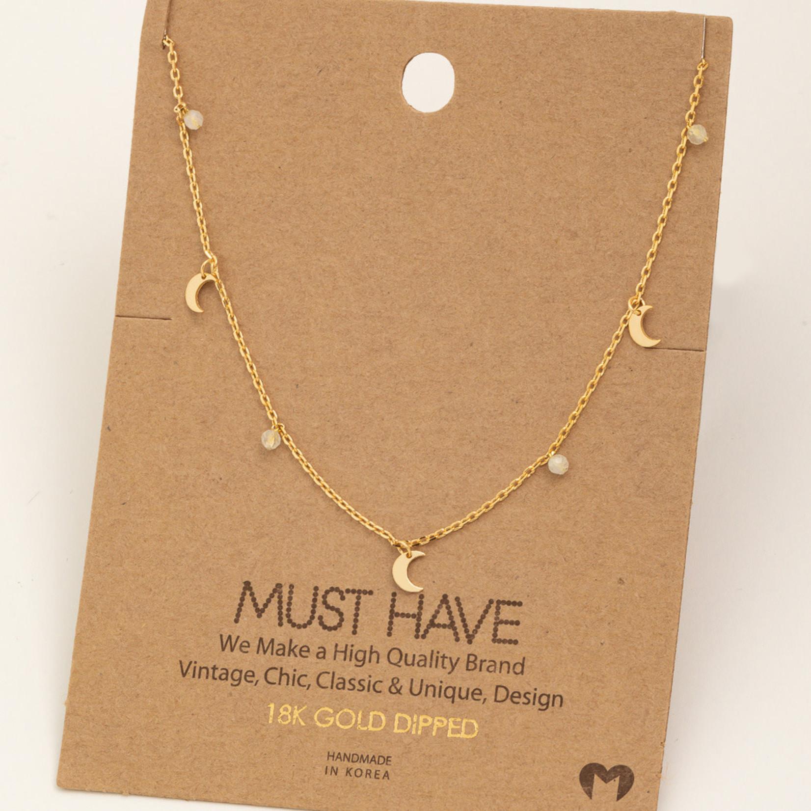 FT Pembroke Mini Crescent Moon Charm  Gold Necklace