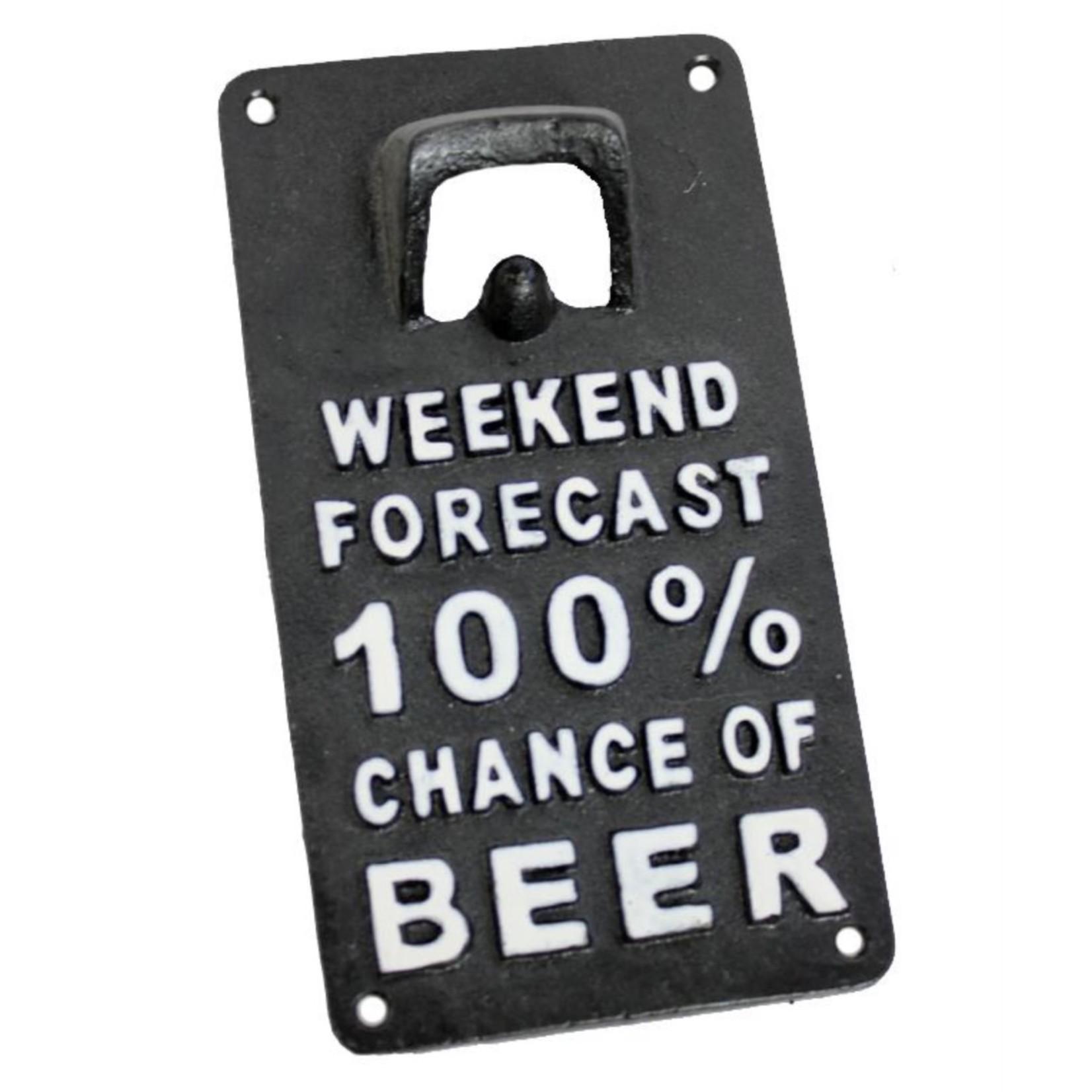 FT Pembroke 100 Percent Beer Wall Bottle Opener - cast iron sign