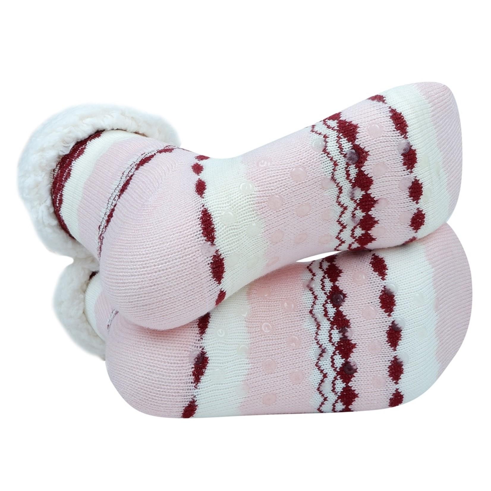 Selini Women's sherpa slipper socks- pink