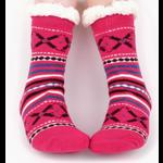 Selini Women's sherpa slipper socks- Deep Pink