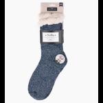 Selini Women's sherpa slipper socks- Grey Sparkle