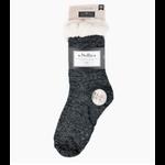 Selini Women's sherpa slipper socks- Black Sparkle