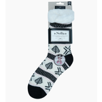 FT Pembroke Women's sherpa slipper socks-  Black &White