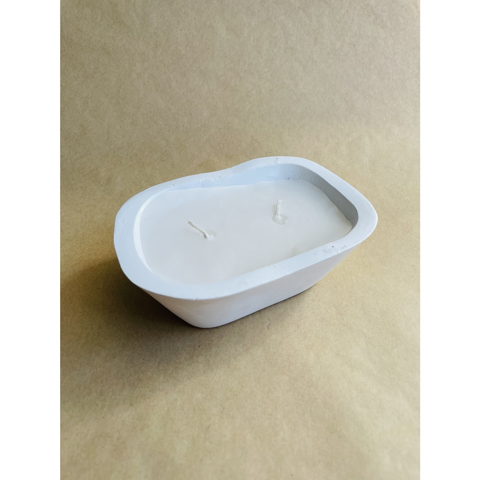 Mud Pie Small White chunky dough bowl candle