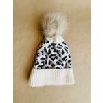 FT Pembroke Leopard knit beanie- ivory