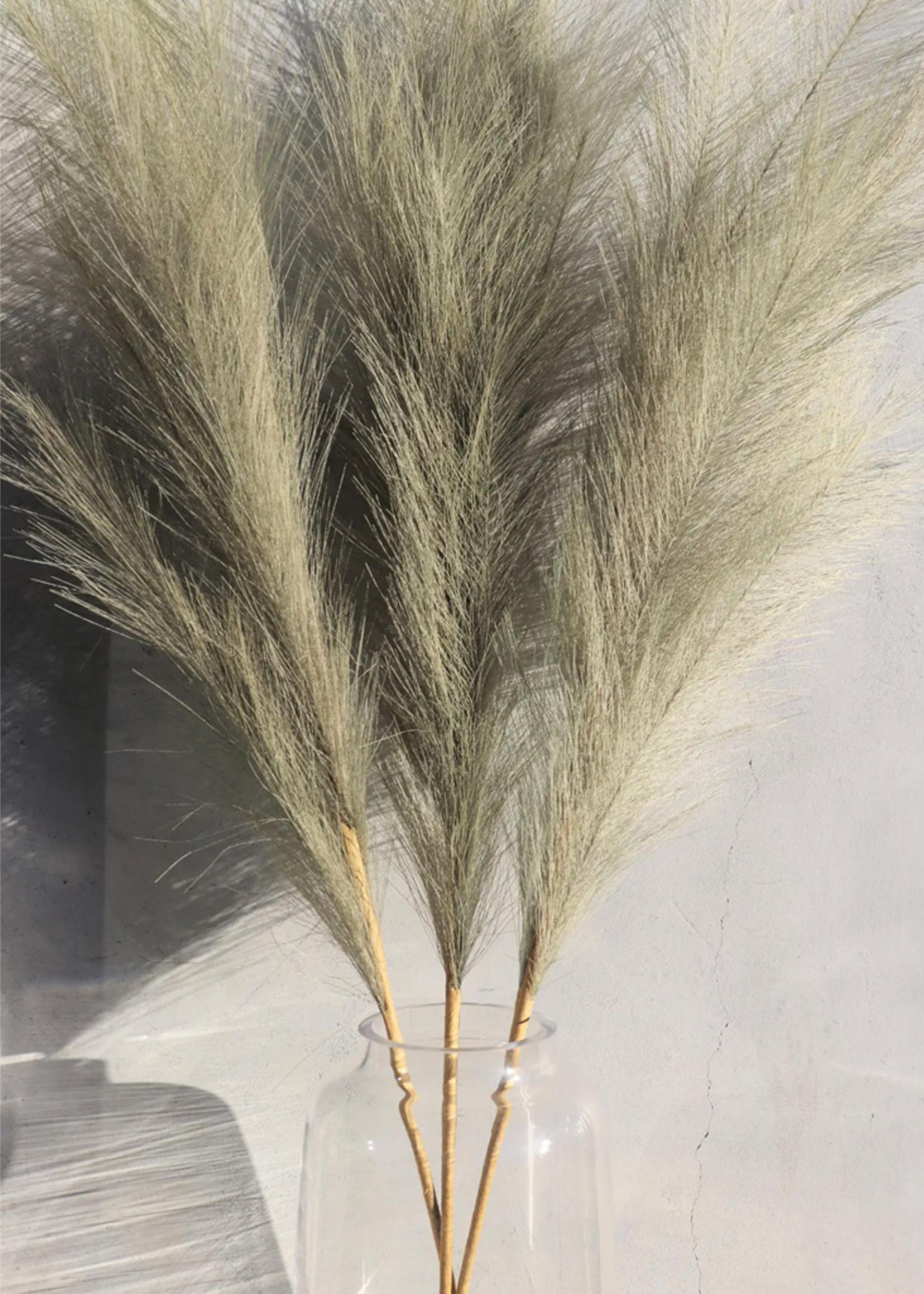 Large Olive Faux Pampas Grass - 1 Stem