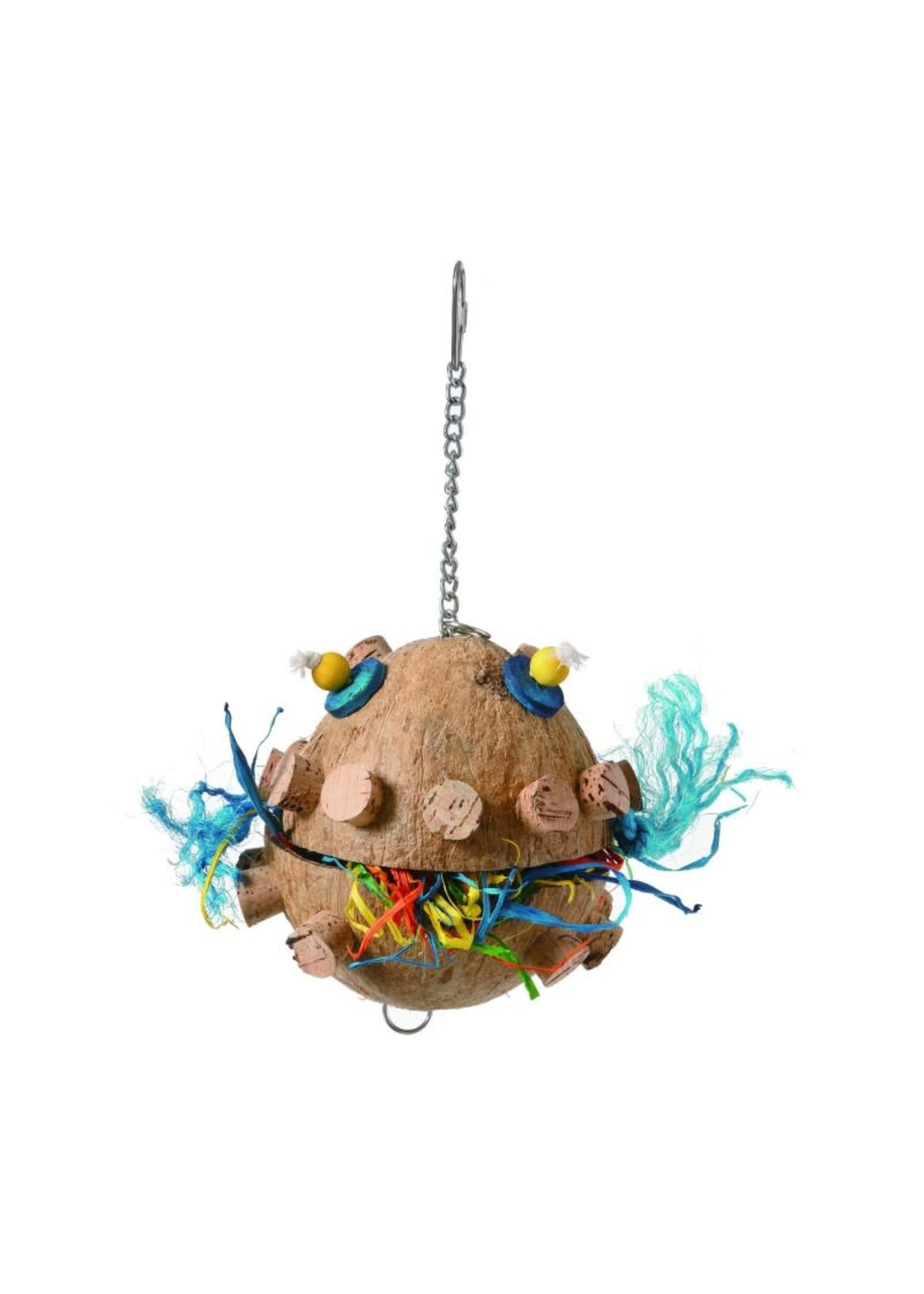 GP PUFFER FISH COCONUT SHELL PARROT BIRD TOY  A781