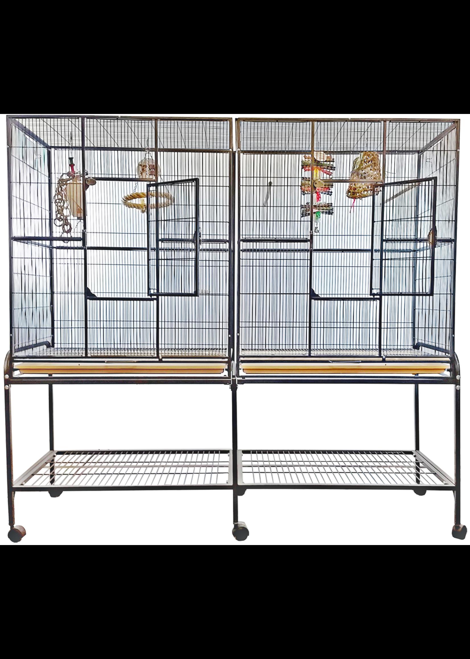 "A&E A&E  Double Flight Cage with Divider Platinum 64""x21"""