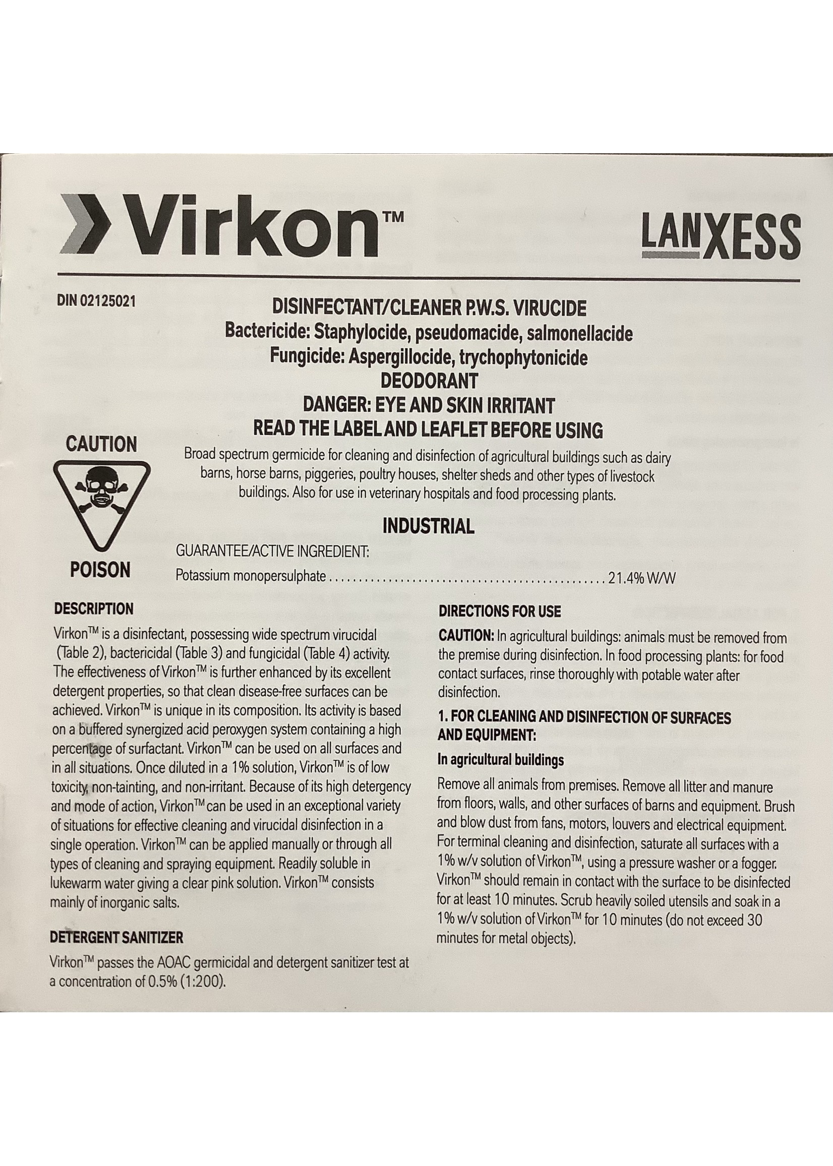 Virkon VIRKON 50g POWDER (BACTERIAL DISINFECTANT)