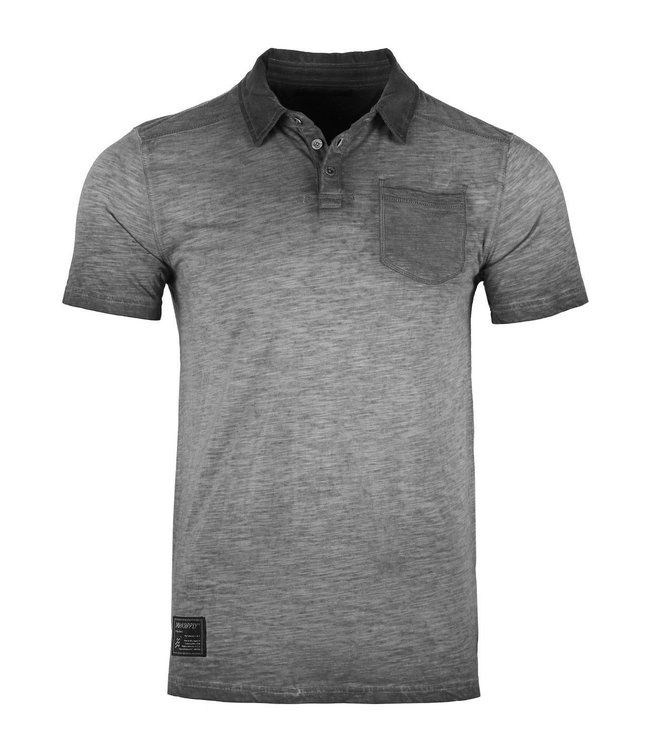 Zimego Oil Washed Pocket Polo in Charcoal