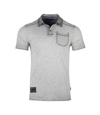 Zimego Silver Grey Oil Washed Pocket Polo