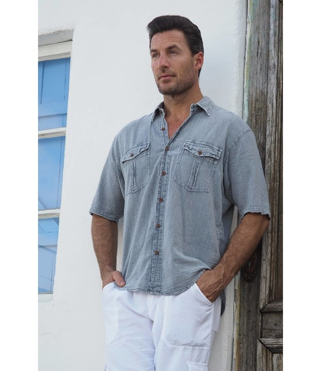 Cotton Natural Halo Fossil Gray Button Up