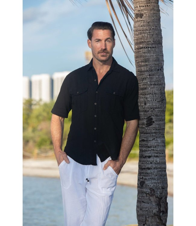 Cotton Natural Halo Black Button Up Shirt
