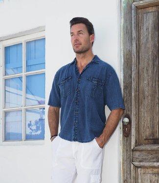 Cotton Natural Halo Midnight Blue Button Up Shirt