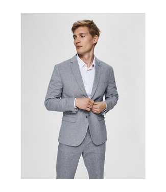 Selected Homme Dark Blue & White Slim Fit Blazer