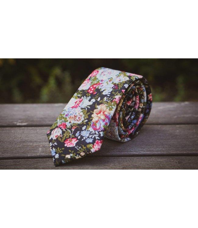 Ella Bing Haberdashery Black Floral Necktie