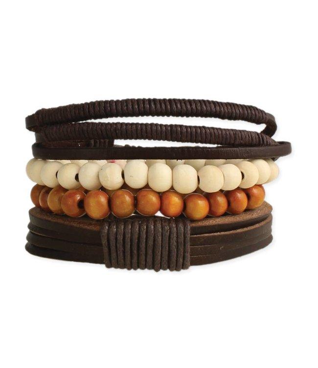 Zad Rustic Leather & Wood Bracelet Set