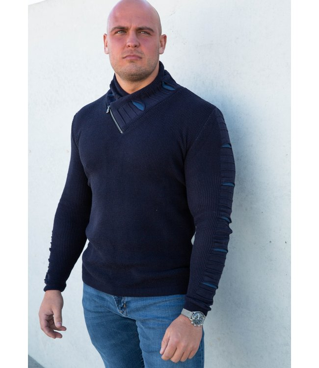 Young Republic Shawl Collar Cut Out Zipper Sweater