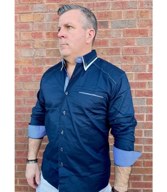 Young Republic Navy Blue Top Stitched Woven Button Down