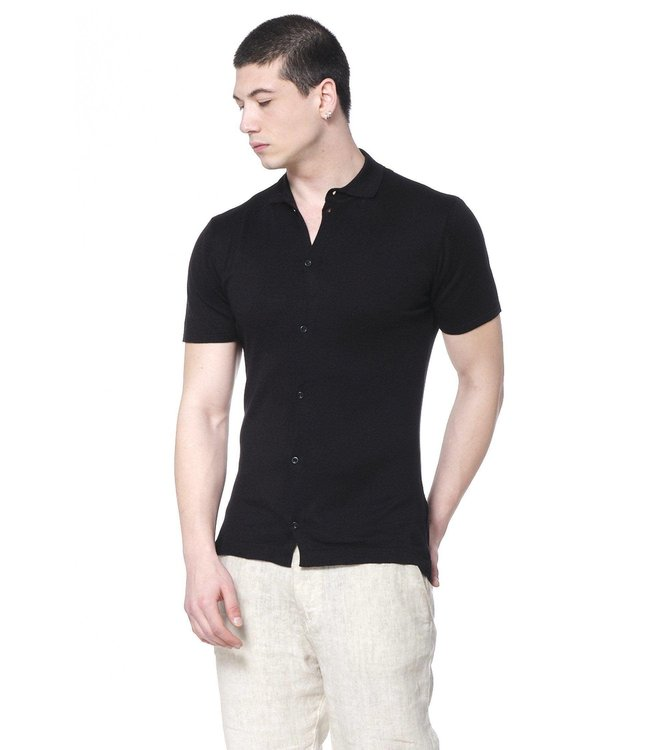 Ron Tomson Placket S/S Polo in Black