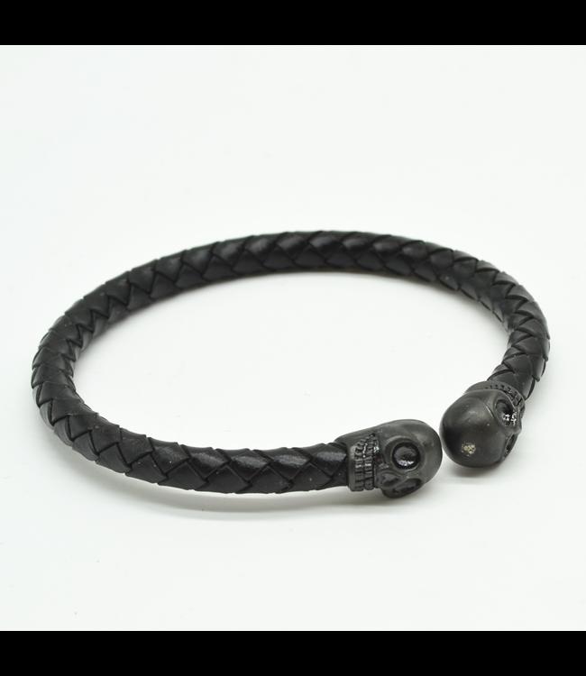 Curated Basics Black Skull Braided Leather Bracelet