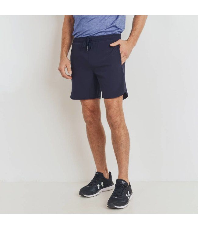Mono B Navy Wave Accent Active Shorts