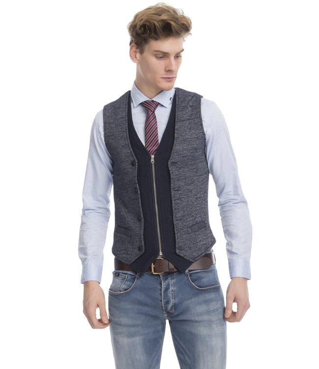 Ron Tomson Layered Look Slim Fit Zip Vest