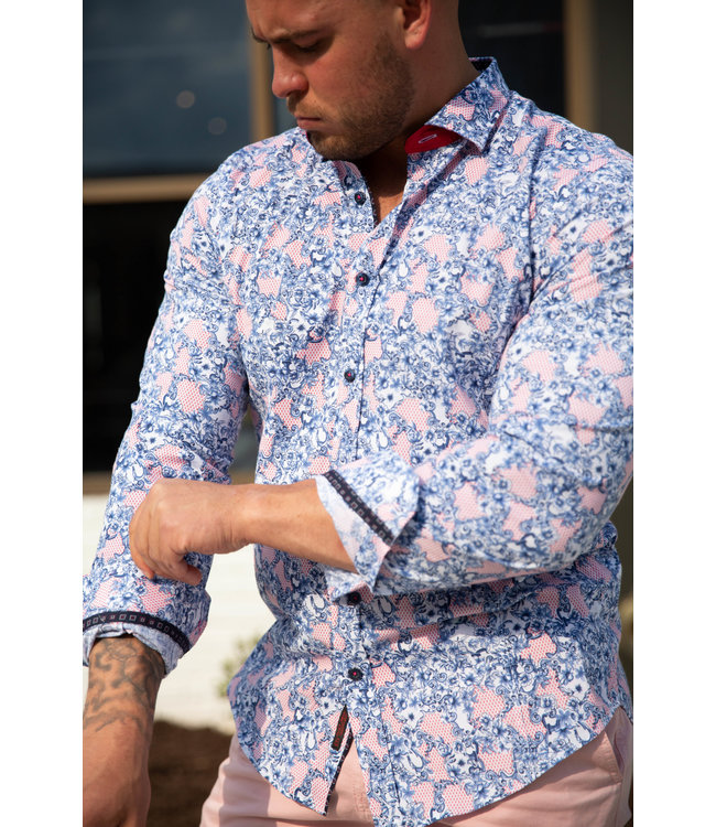 Eight X Blue & Red French Baroque Print Shirt