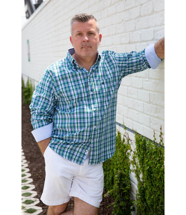 SMF Ocean and Green Plaid Shirt