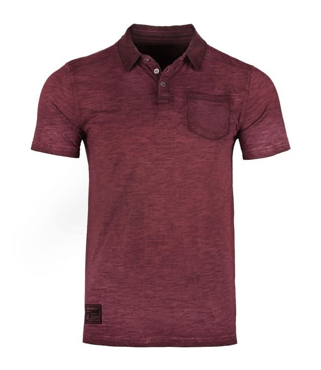 Zimego Oil Washed Pocket Polo in Maroon