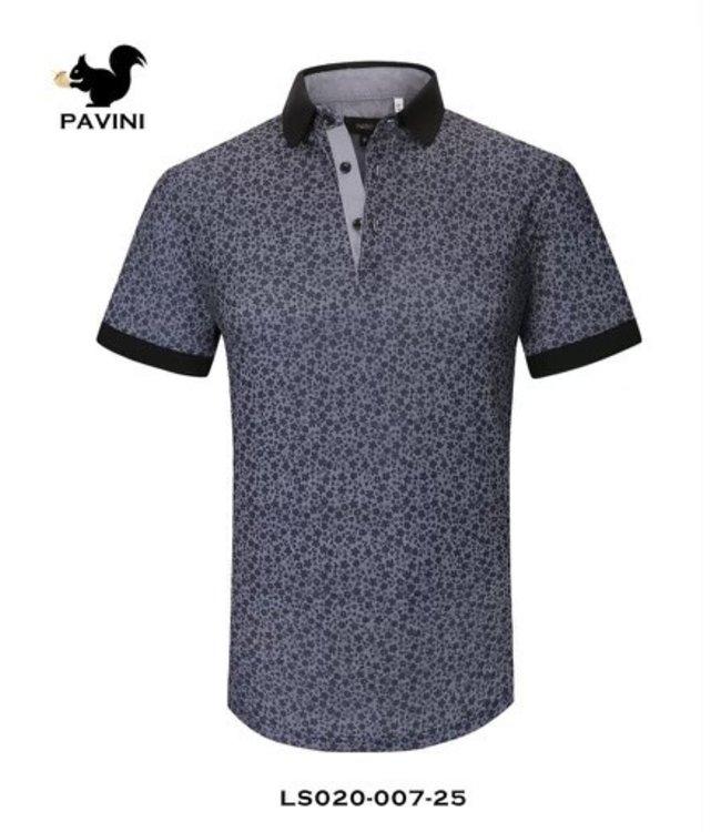 Pavini Navy Floral Pattern Polo Shirt