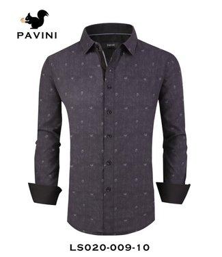 Pavini Heathered Navy Blue Long Sleeve Button Down