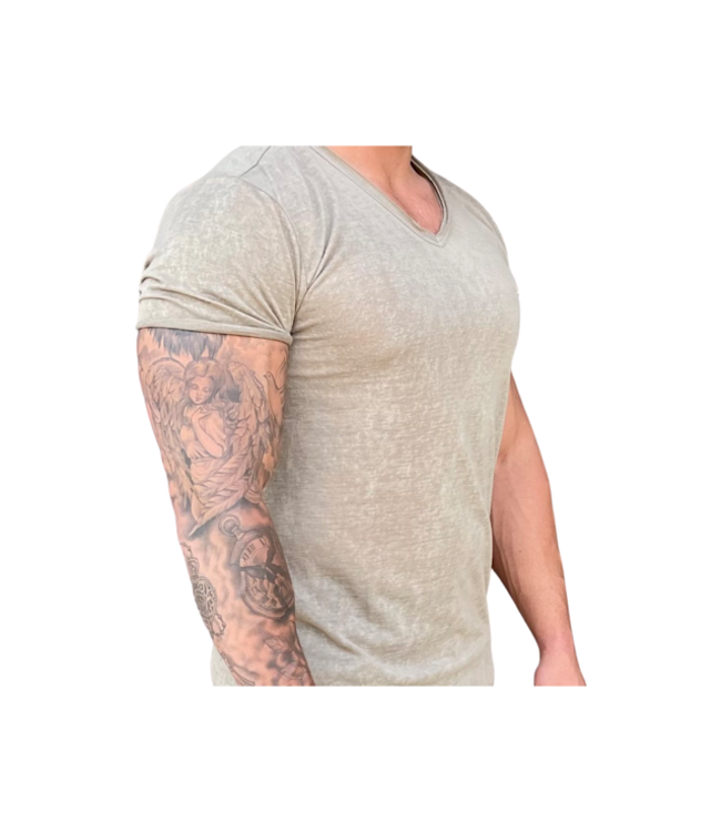 Young Republic Cotton Beige V-Neck Tee