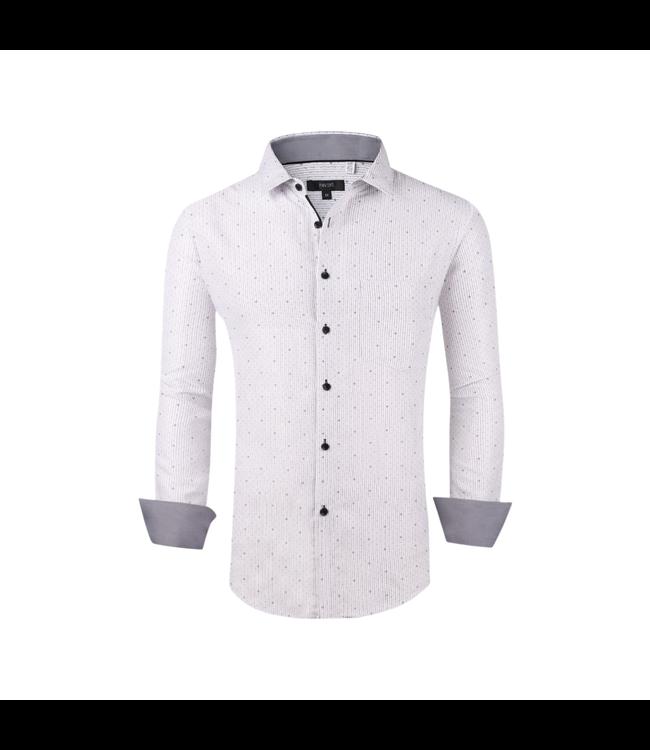 Pavini White Textured Black Button L/S