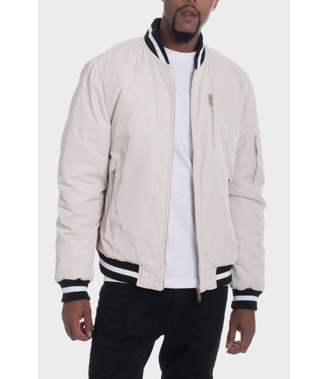 WEIV Luxury Beige Padded Twill Jacket