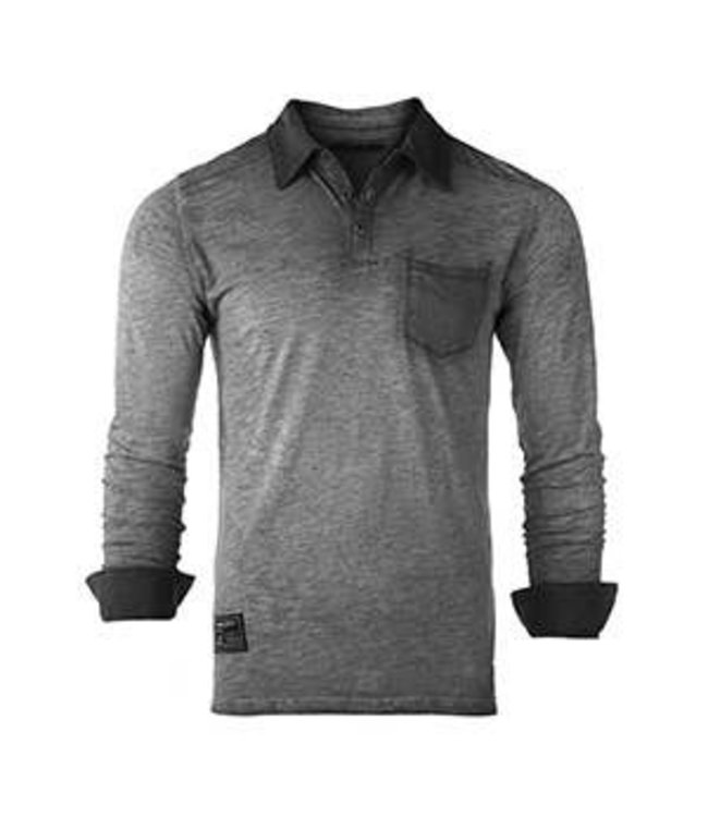 Zimego Garment Oil Wash Pocket Polo Shirt