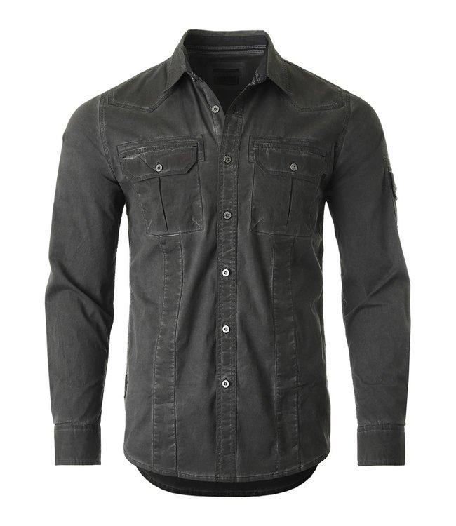 Zimego Stretch Flex Color Washed Vintage Button Shirt