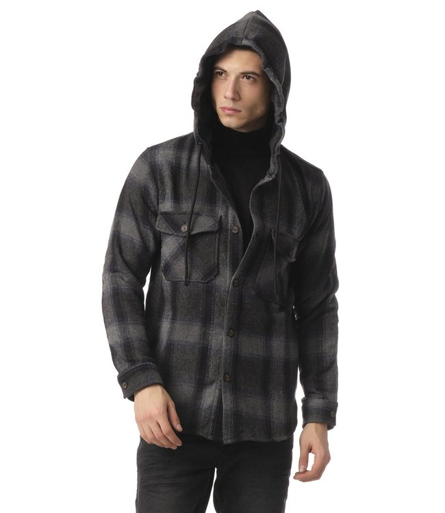 Ron Tomson Plaided Shirt Jacket - Black Anthracite