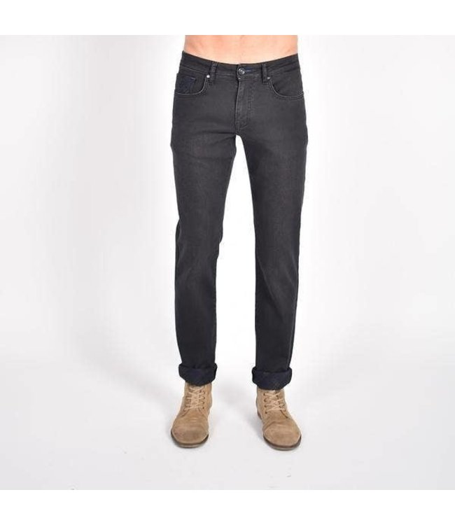 Eight X Inside Ankle Print Black Slim Fit Jeans
