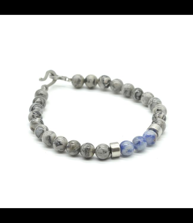 Curated Basics Grey Jasper Beaded Bracelet