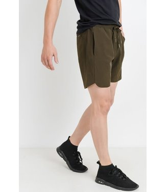 Mono B Olive Wave Accent Active Shorts