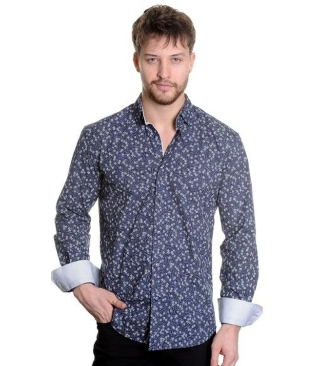 Mizumi Couture Navy and White floral Button Down