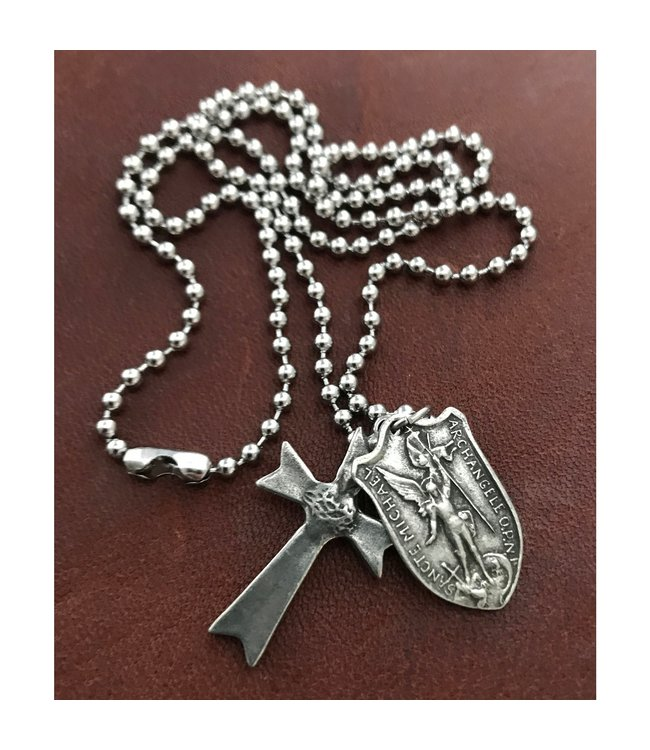 Johnny Ltd. Cross and St Michael Necklace