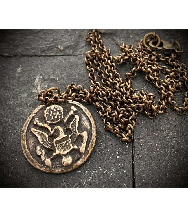 Johnny Ltd. Eagle Military Button Necklace