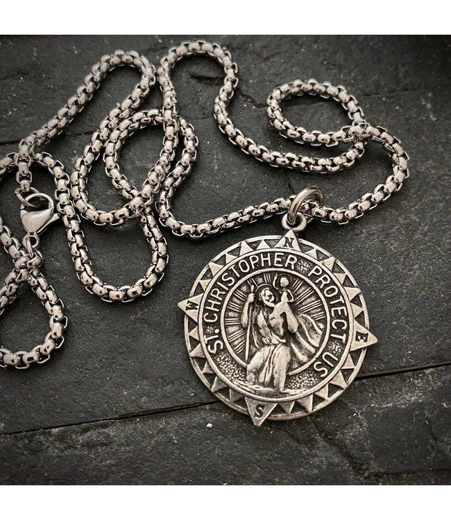 Johnny Ltd. Large St. Christopher Compass Necklace