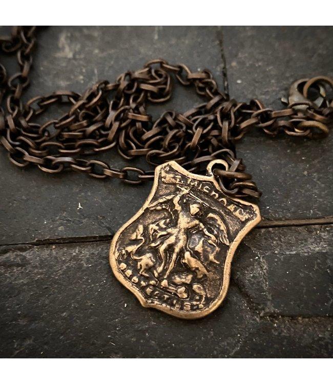 Johnny Ltd. Bronze Archangel St. Michael  Necklace