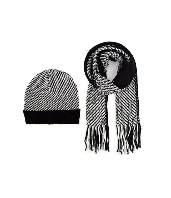 Selini Black And White Hat & Scarf