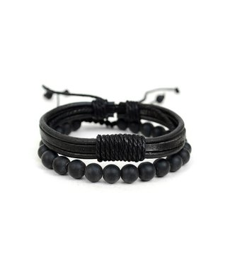 Selini Leather & Natural Stone Bracelet