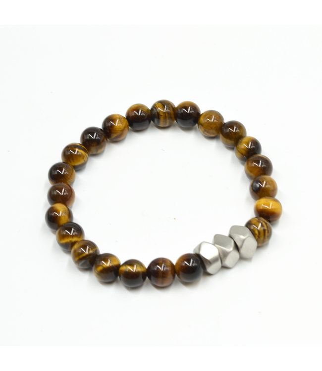 Curated Basics Tiger Eyes with Cubic Steel Bracelet