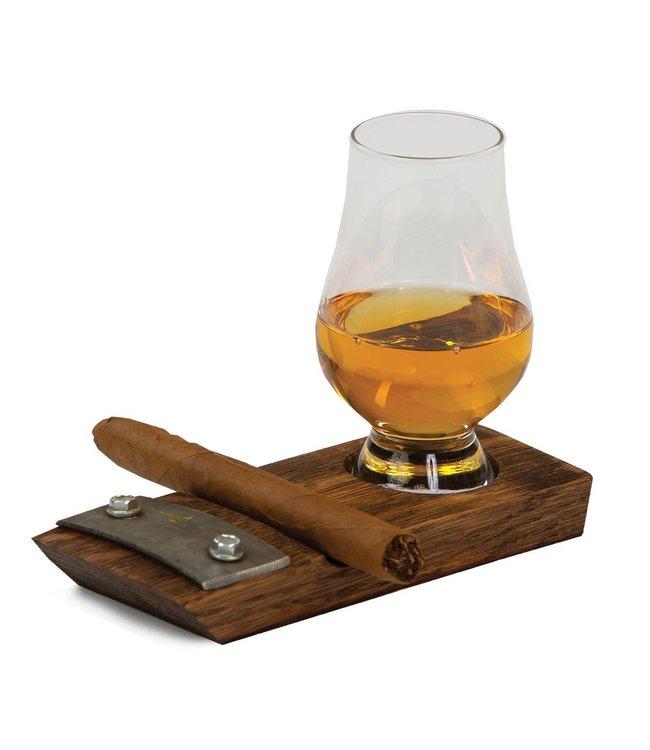 Oak & Olive Glencairn Whiskey & Cigar Coaster Set